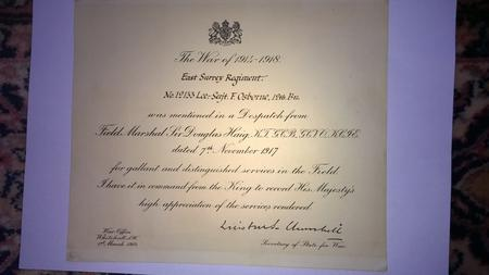 Certificate of mentioned in dispatches