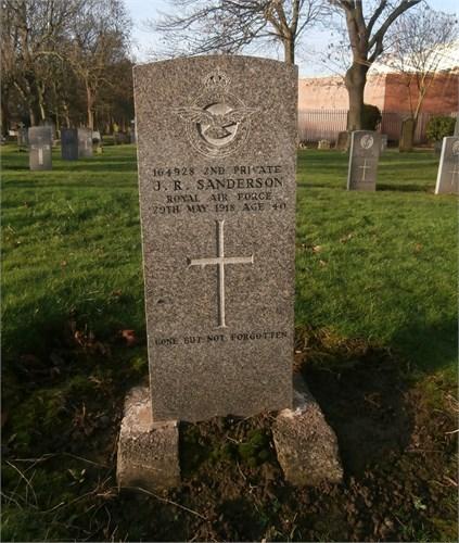 Headstone of J R Sanderson