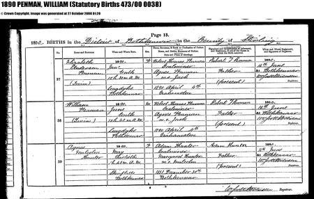 Registry entry for William Penman's birth