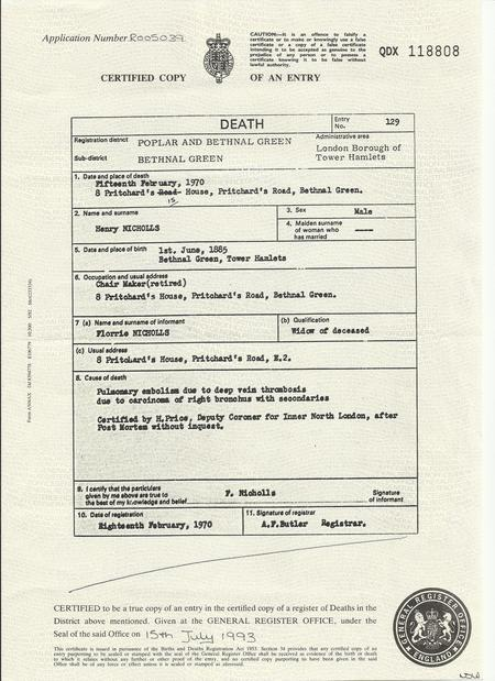 Henry Nicholls death cert