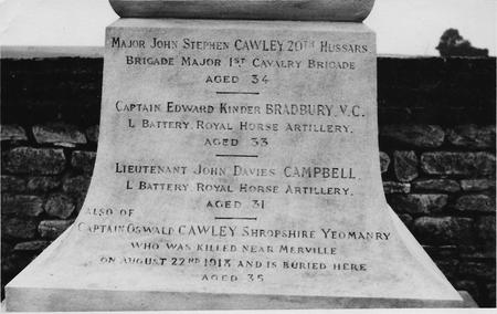 Memorial to Bradbury and Campbell in Nery Cemetery