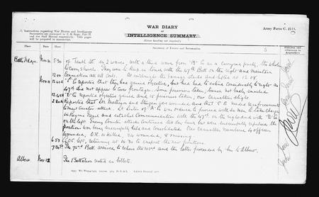 Canadian war diary for 11 / 11 / 1916