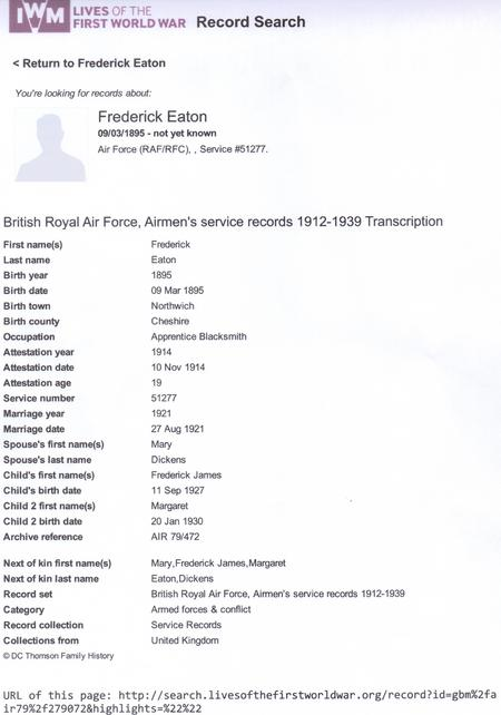Fred Eaton RAF record