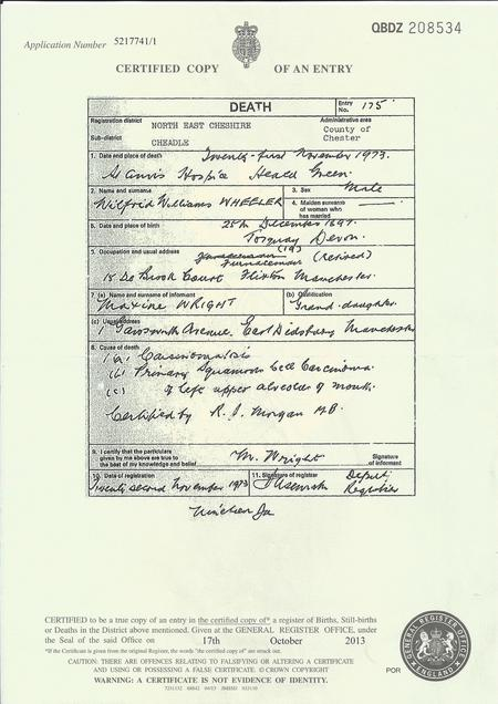 Wilfred's Death Certificate