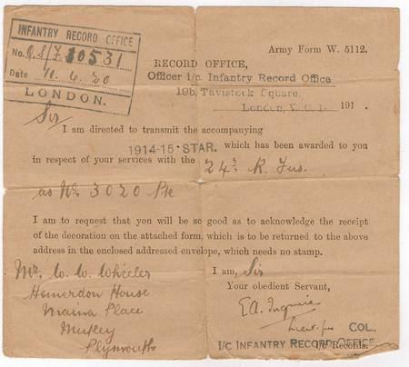 Notice to Wilfred of 1914-15 Star
