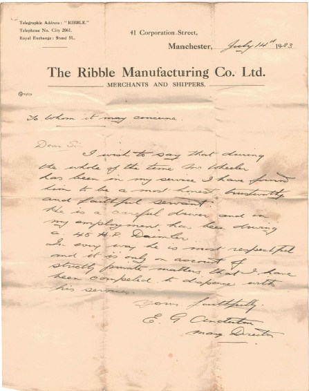 Employment Reference from Ribble Manufacturing