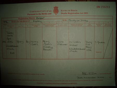 Great Uncle Harry Griffins Birth Certificate .