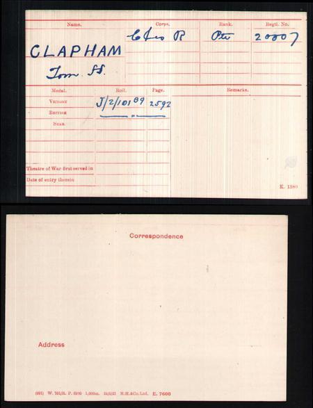 WW1 Medal Index Card