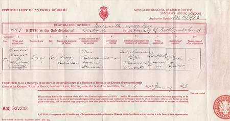 Copy of birth certificate of Henry Richardson