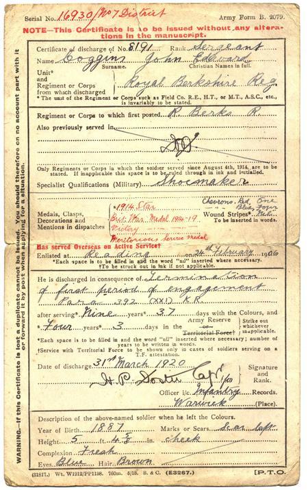 Discharge Certificate 1920