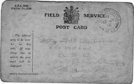 Field Service Post Card to F Oxborrow
