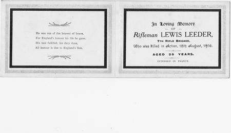 Lewis Leeder - Memorial Card