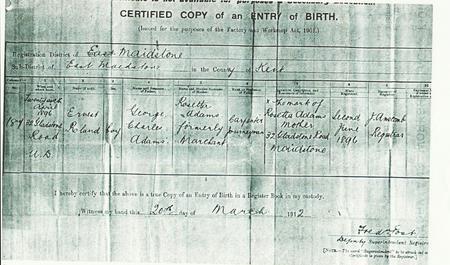 Ernest Roland Adams Birth Certificate