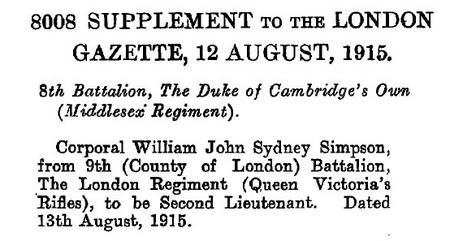 Commisioned 2nd Lt 8th Middlesex Regiment