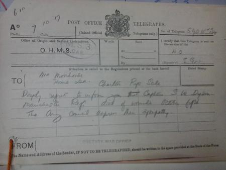 War Office Telegram Form