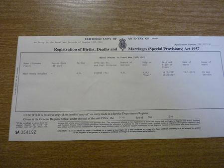 Copy of death certificate of Harry Neep