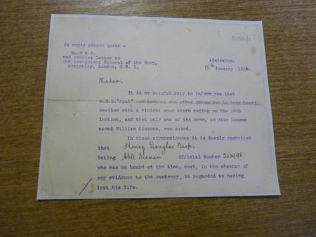 Preliminary death notice from the Admiralty