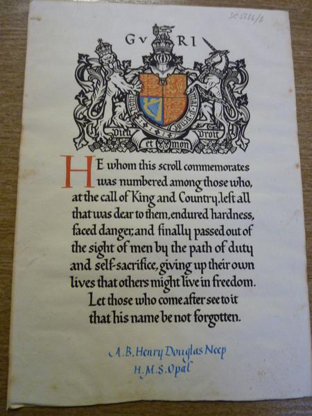 Neep's memorial scroll