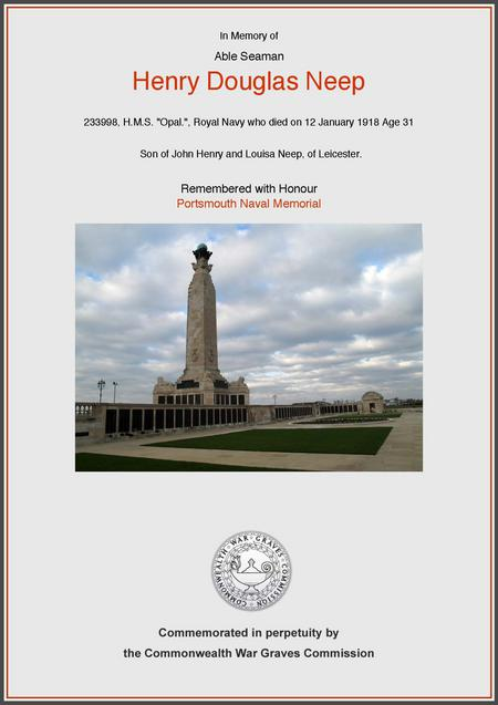 CWG certificate for Henry Douglas Neep