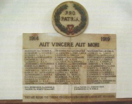 O.W. War Memorial 1914-1919