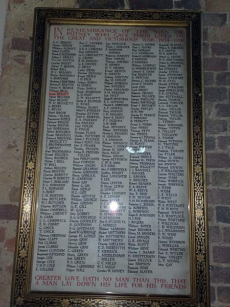 James's name on the Putney war memorial