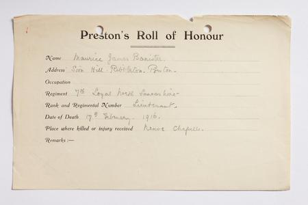 Preston Roll of Honour form for Lieutenant Baniste