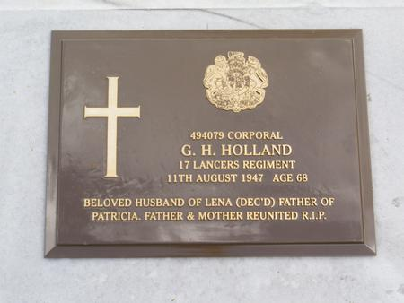 Headstone for George H Holland