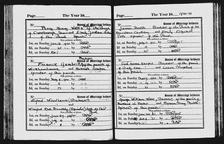 Church Record of Marriage