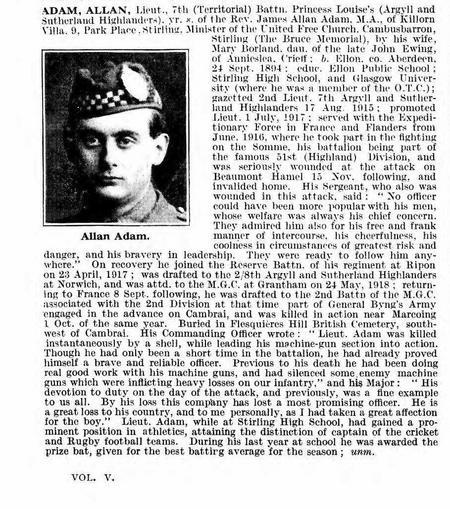 De Ruvigny's Roll of Honour 1914 -18,  Lt Adam