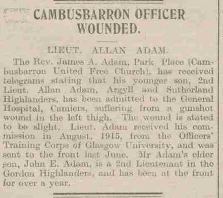 Stirling Observer 25 November 1916