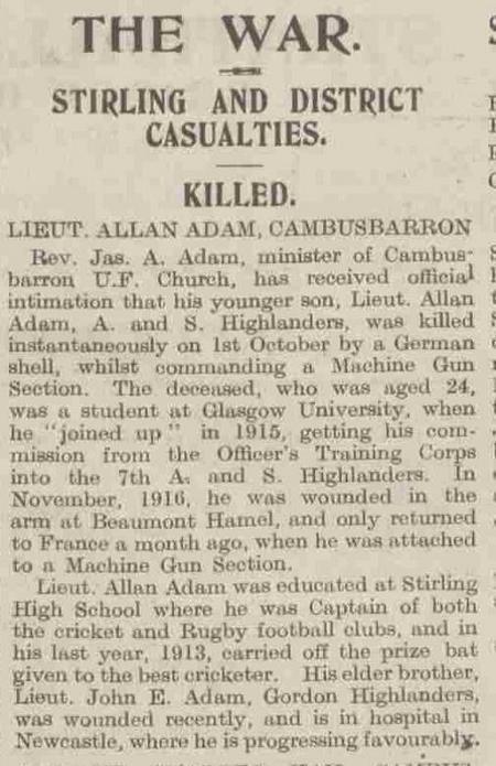 Stirling Observer 12 October  1918