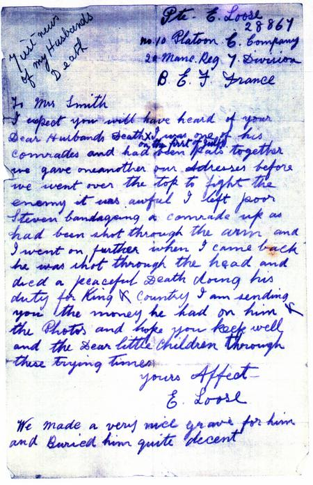 Letter informing his wife of his death.