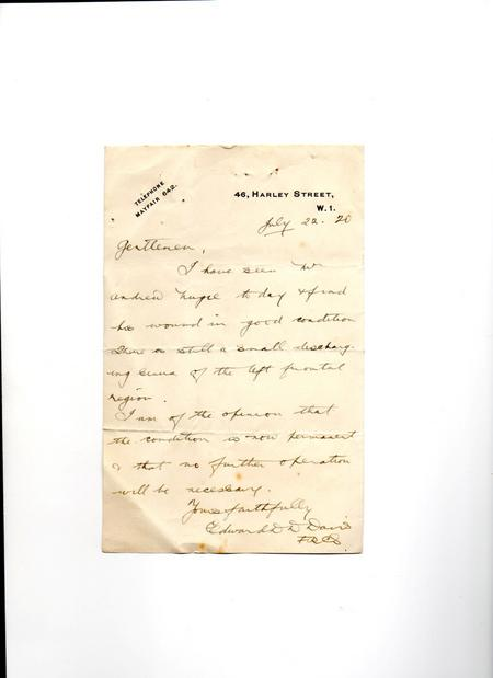 Doctors letter re eye wound