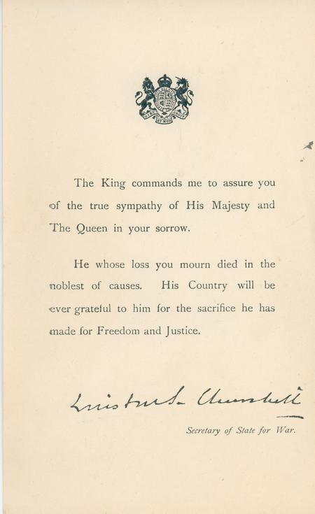 Letter from Churchill, Sec of State for War