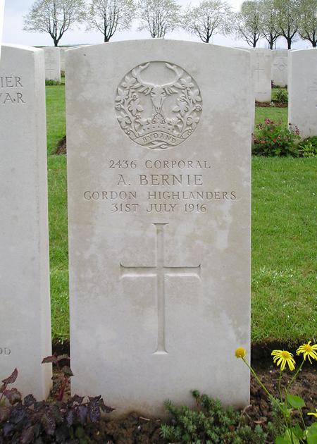 Cpl Alex C Birnie Headstone (mis-spelled)