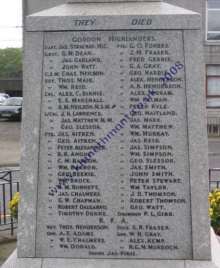 Ellon memorial Cpl Alex C Birnie