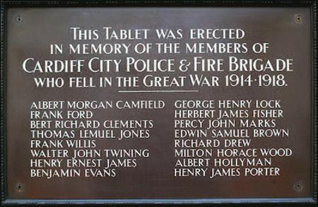 Cardiff City Police memorial tablet