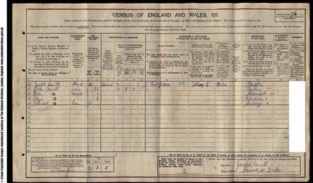 1911 census entry for Joseph Edward Smith