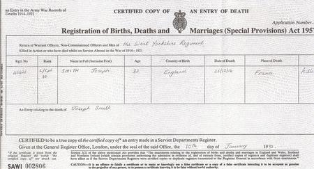 1916 death certificate for Joseph Edward Smith