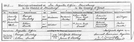 1919 remarriage of Joseph's widow Ellen