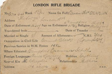 Enlistment with London Rifle Brigade