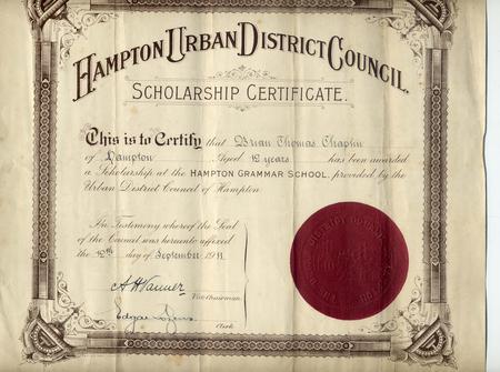 Hampton Grammar School Scholarship Certificate