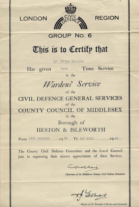 Civil Defence Wardens' Service Certificate