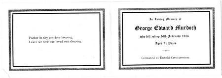 Memorial Card for George Murdoch