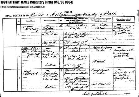 J Rattray Birth Record