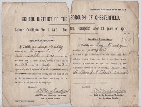 Labour certificate for exemption from schooling