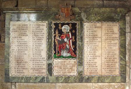 WW1 Memorial Tablet in All Saints Church, Darfield