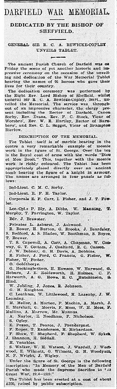 Barnsley Chronicle 6 August 1921