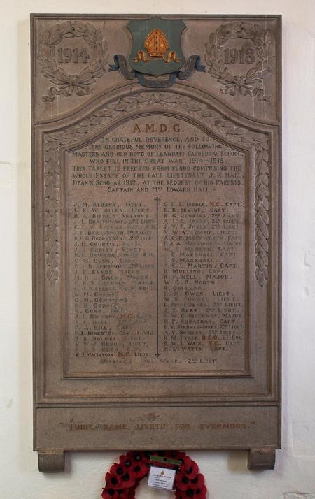 Cathedral School, Llandaff War Memorial, Llandaff