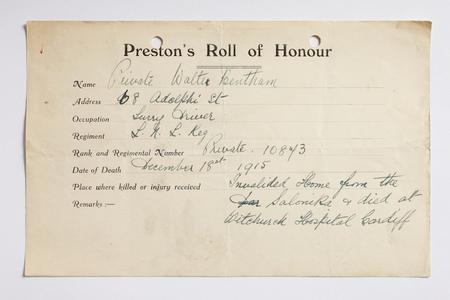 Preston Roll of Honour form for Private Bentham.